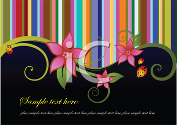 Royalty Free Clipart Image of a Striped and Flower Background With Black at the Bottom