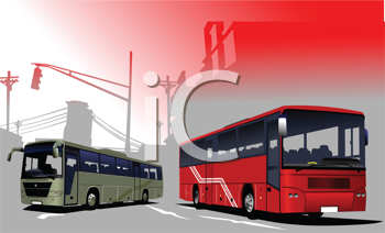Royalty Free Clipart Image of Two Buses in the City