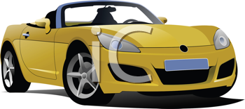 Royalty Free Clipart Image of a Yellow Convertible