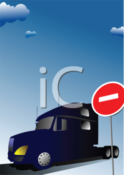 Royalty Free Clipart Image of a Truck at a Sign