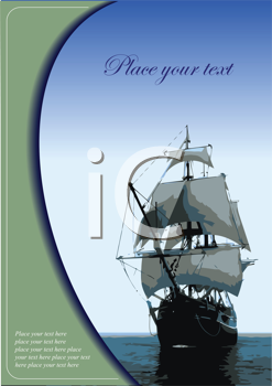 Royalty Free Clipart Image of a Tall Ship With Space for Text Above It