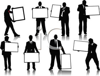 Royalty Free Clipart Image of Businessmen Silhouettes Holding Blank Signs