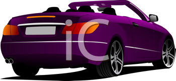 Purple cabriolet on the road. Vector illustration