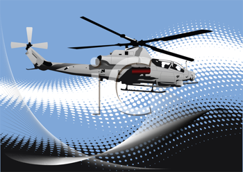 Air force. Combat helicopter on the dotted background. Vector illustration