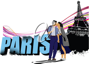 3D word Paris on the Eiffel tower grunge background with kissing couple. Vector illustration