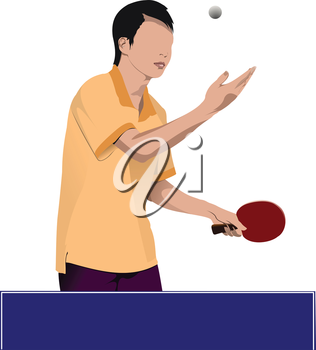 Ping pong player vector silhouette