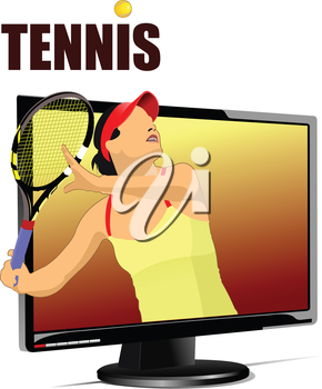 Background with Flat computer monitor with tennis player image. Display. Vector illustration