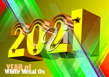 2021 year. Vector eps 10 illustration. 3d