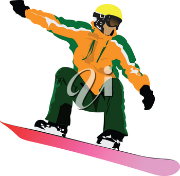 Snowboard man silhouette. Vector 3d illustration