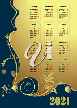 2021 calendar  vector illustration with American holiday