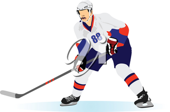 Ice hockey players poster. Colored Vector 3d illustration for designers