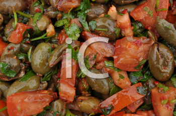 Royalty Free Photo of Olives, Tomatoes and Basil