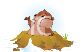 Royalty Free Clipart Image of a Groundhog Coming Out of His Hole