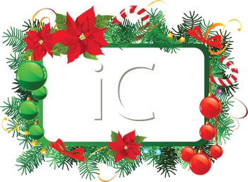 Royalty Free Clipart Image of a Christmas Frame With Decorations