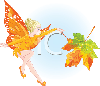 Royalty Free Clipart Image of a Young Fairy Holding a Magic Wand