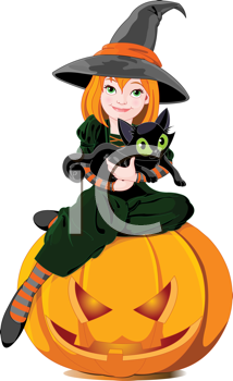 Royalty Free Clipart Image of a Witch Holding a Cat While Sitting on a Pumpkin