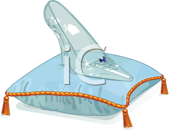 Royalty Free Clipart Image of Cinderella's Crystal Slipper on a Blue Pillow