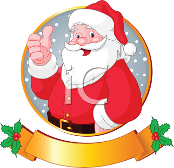 Royalty Free Clipart Image of a Christmas Greeting Card with Santa Claus