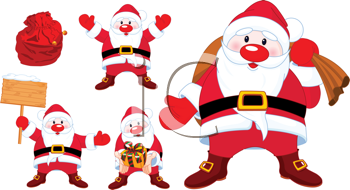 Royalty Free Clipart Image of a Set of Cute Santa Clauses