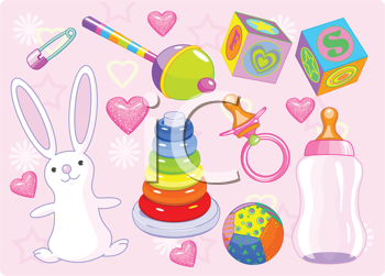 Royalty Free Clipart Image of Baby Toys