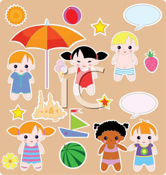 Royalty Free Clipart Image of Cute Characters