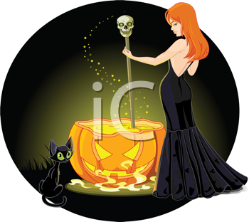 Royalty Free Clipart Image of a Witch Holding a Scepter in a Pumpkin