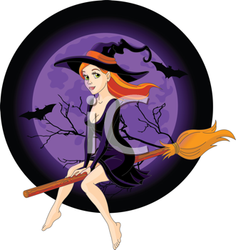 Royalty Free Clipart Image of a Witch Flying a Broom