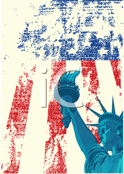 Royalty Free Clipart Image of a Grunge American Flag and Statue of Liberty