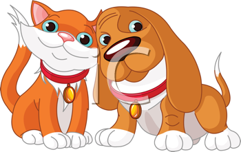 Royalty Free Clipart Image of a Cute Dog and Cat