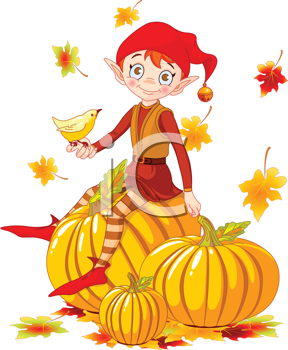 Royalty Free Clipart Image of an Elf on Pumpkins