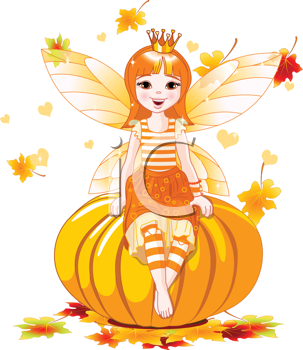 Royalty Free Clipart Image of an Autumn Fairy