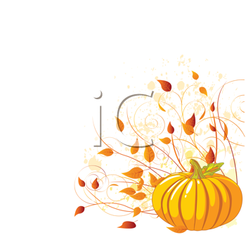 Royalty Free Clipart Image of an Autumn Pumpkin and Leaves