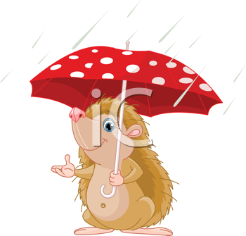 Royalty Free Clipart Image of a Hedgehog Under an Umbrella