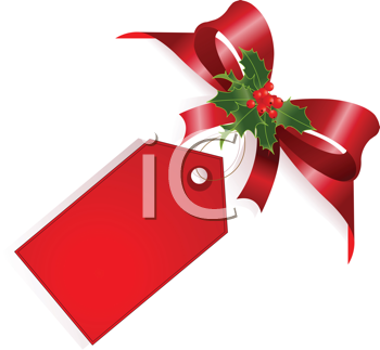 Page corner with red ribbon, bow andlabel. Place for copy/text.