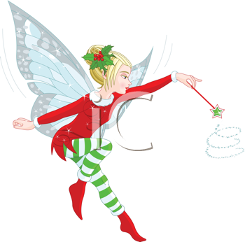 Illustration of a beautiful Christmas fairy in fly