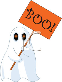 Illustration of Very cute ghost with Boo sign