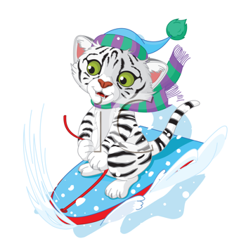 Illustration of white tiger  having fun in a snow cart