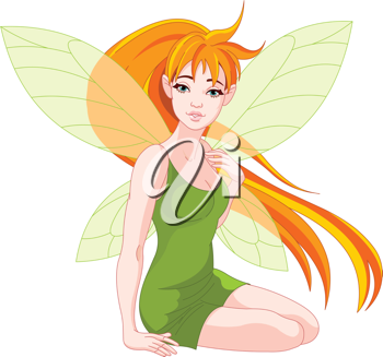 Illustration of a sitting young fairy
