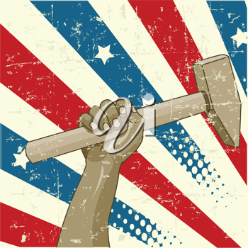 Design for Labor Day with worker�s hand holding a hammer