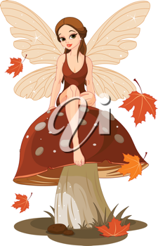 Autumn fairy sitting on mushroom