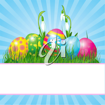 Easter place card  with eggs in grass