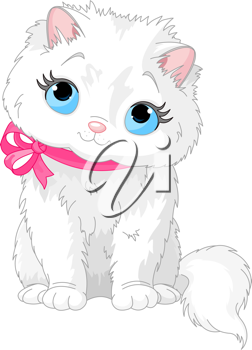 Illustration of fluffy white Cat with pink bow