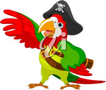 Illustration of talking Pirate Parrot