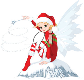 Beautiful Christmas fairy sitting on ice rock
