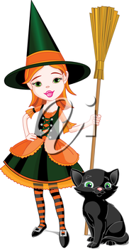 Royalty Free Clipart Image of a Little Witch and Black Cat