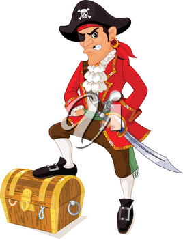 Royalty Free Clipart Image of a Cartoon Pirate