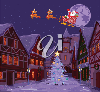 Royalty Free Clipart Image of Santa Over a Christmas Town