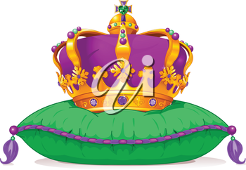 Royalty Free Clipart Image of a Crown on a Pillow