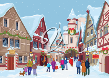 Royalty Free Clipart Image of a Town in Winter