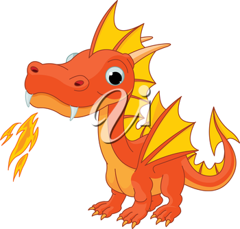 Royalty Free Clipart Image of a Little Dragon